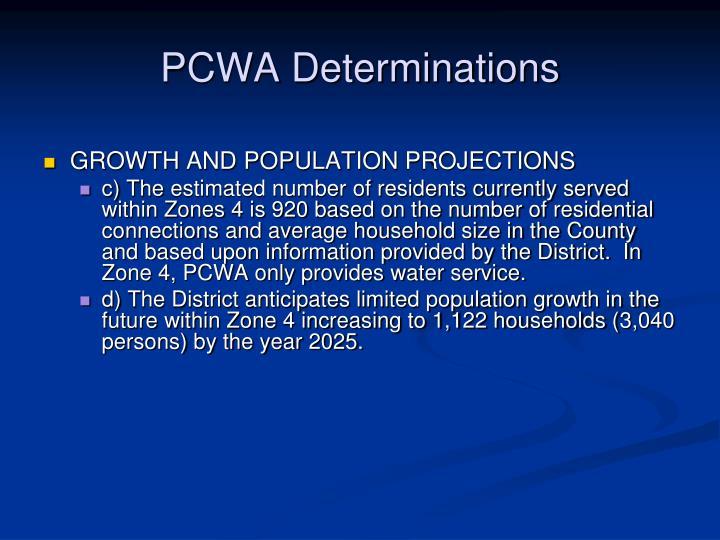PCWA Determinations