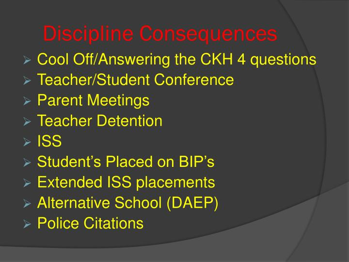 Discipline Consequences