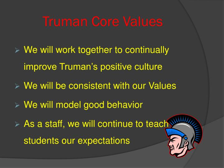 Truman Core Values