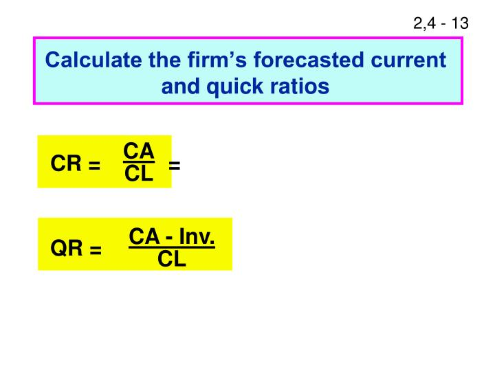 Calculate the firm's forecasted current and quick ratios