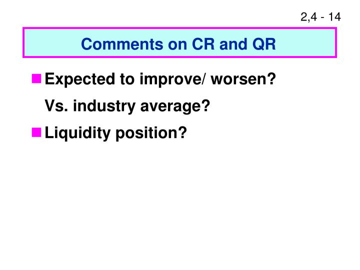 Comments on CR and QR