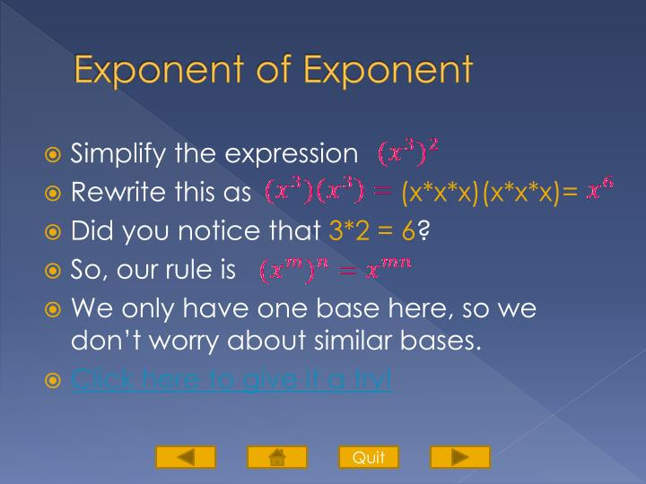 Exponent of Exponent