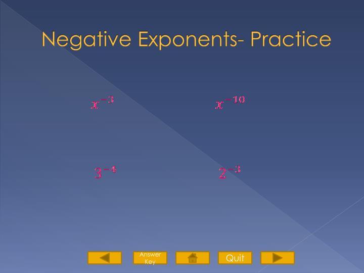 Negative Exponents- Practice