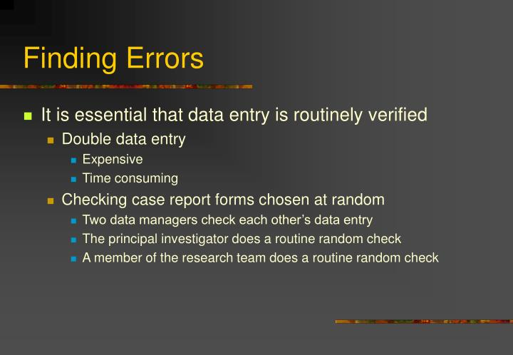 Finding Errors
