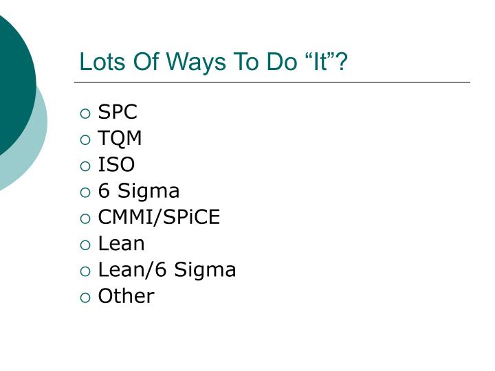 """Lots Of Ways To Do """"It""""?"""
