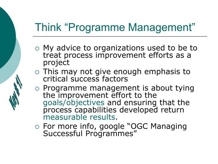 "Think ""Programme Management"""