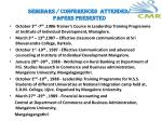 seminars conferences attended papers presented