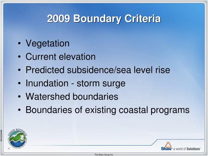 2009 Boundary Criteria