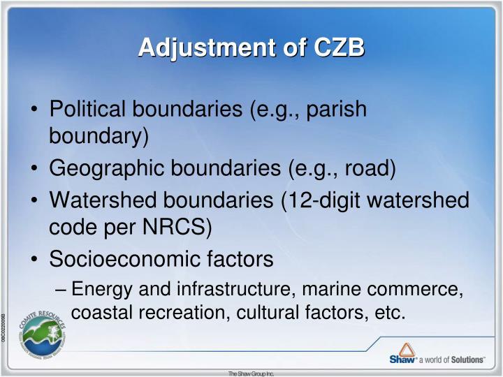 Adjustment of CZB