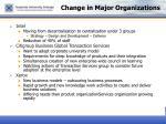 change in major organizations