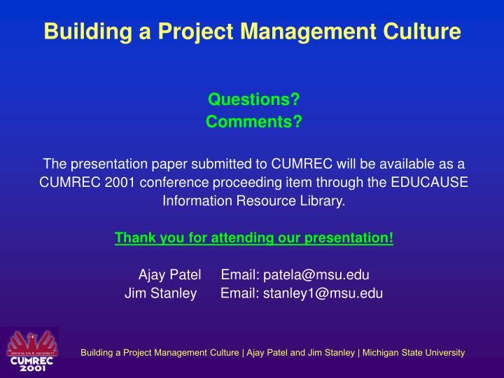 Building a Project Management Culture