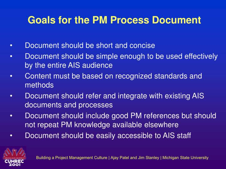 Goals for the PM Process Document