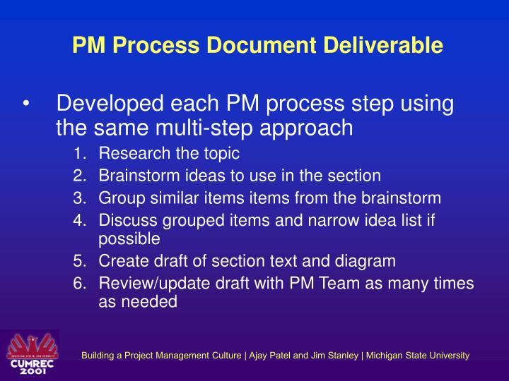PM Process Document Deliverable