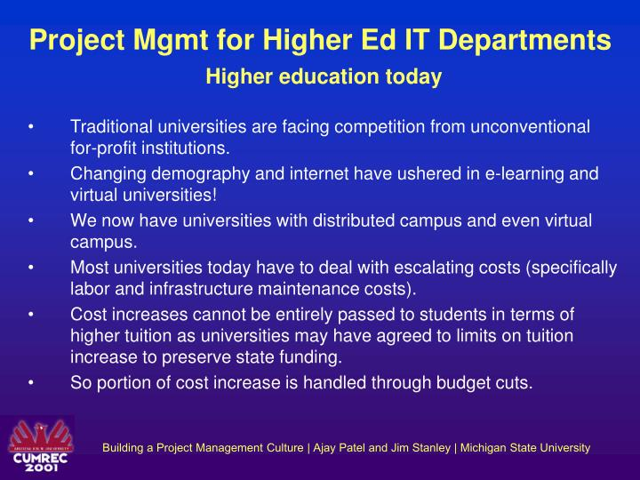 Project Mgmt for Higher Ed IT Departments