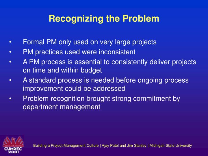 Recognizing the Problem