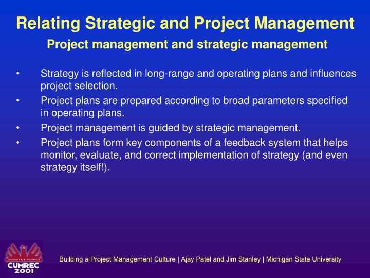 Relating Strategic and Project Management