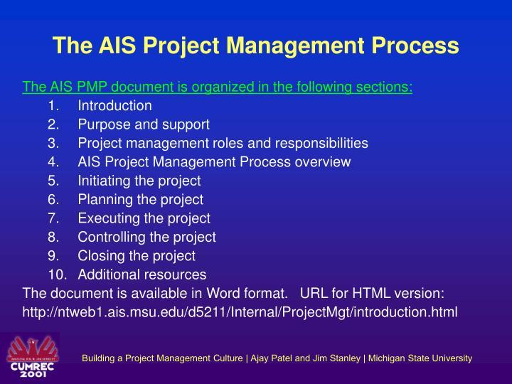 The AIS Project Management Process
