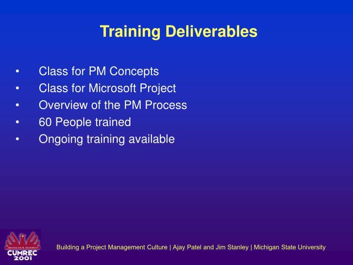 Training Deliverables