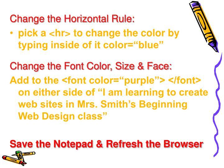 Change the Horizontal Rule: