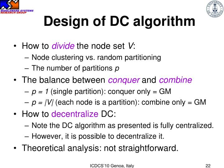 Design of DC algorithm