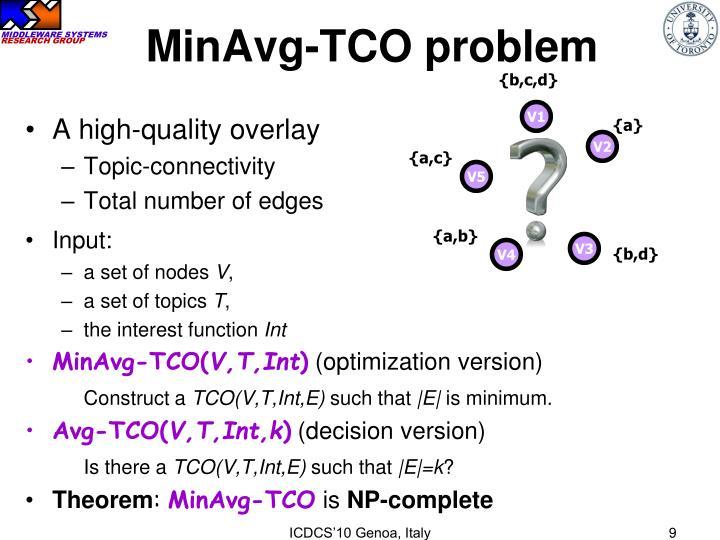 MinAvg-TCO problem