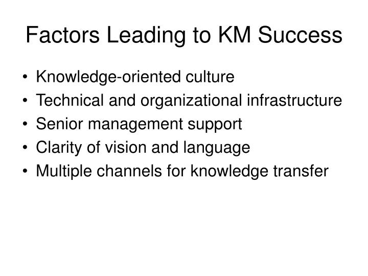Factors Leading to KM Success