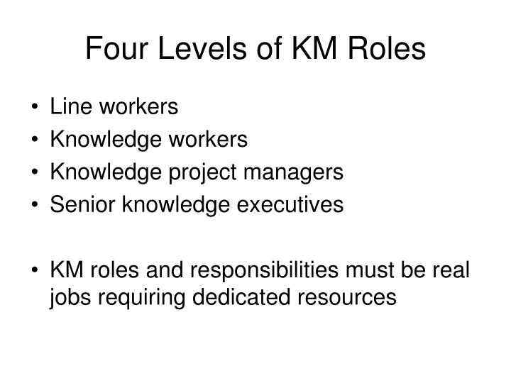 Four Levels of KM Roles