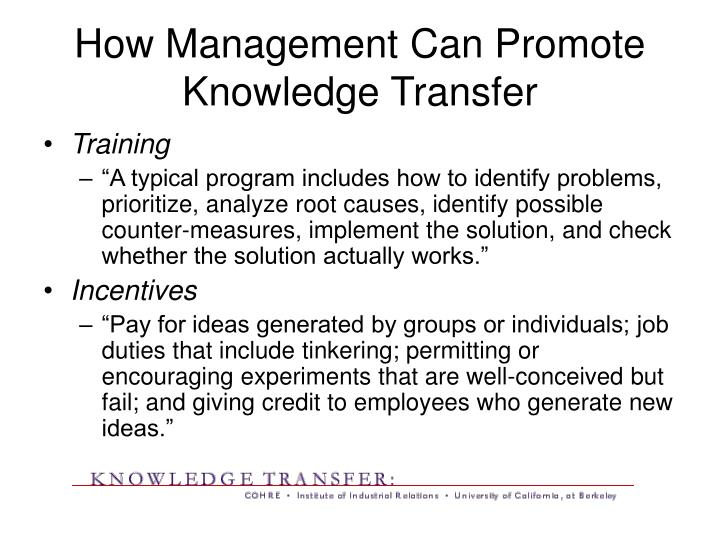 How management can promote knowledge transfer