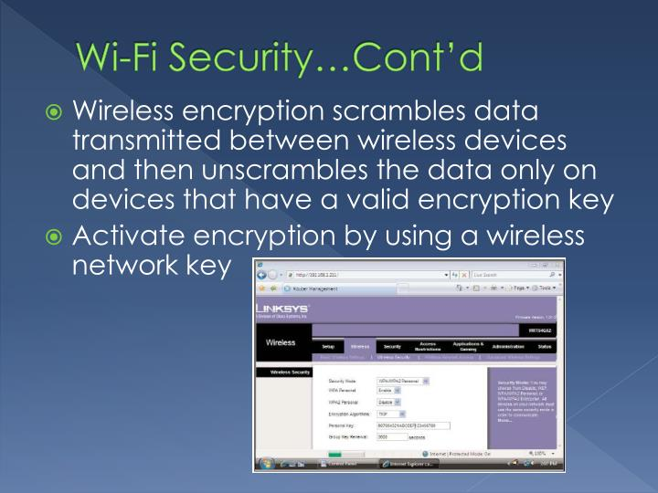 Wi-Fi Security…Cont'd