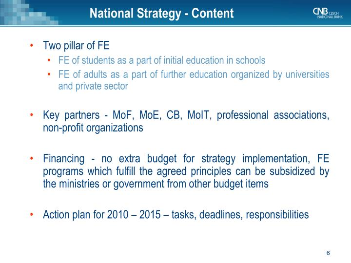 National Strategy -
