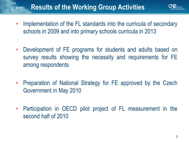 Results of the working group activities