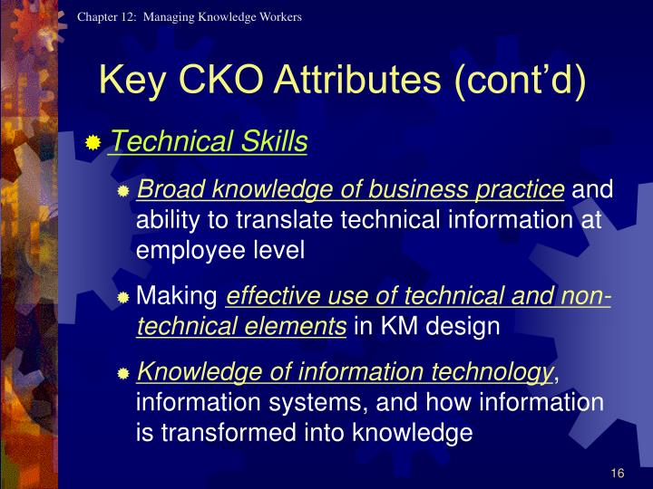 Key CKO Attributes (cont'd)