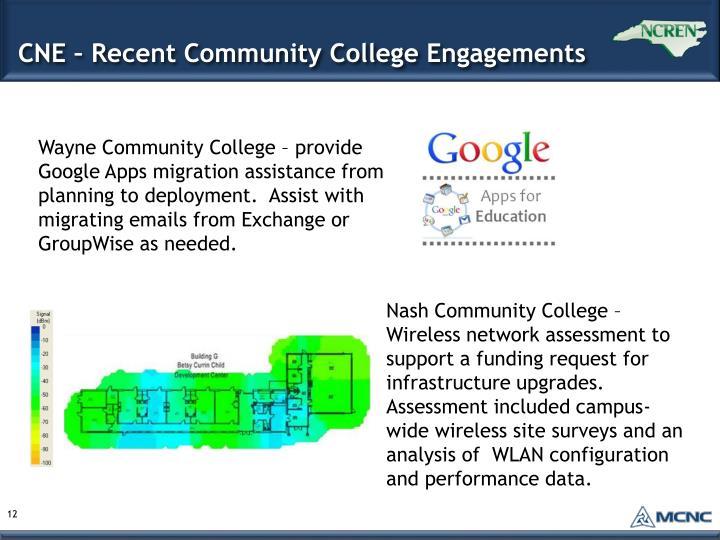 CNE – Recent Community College Engagements