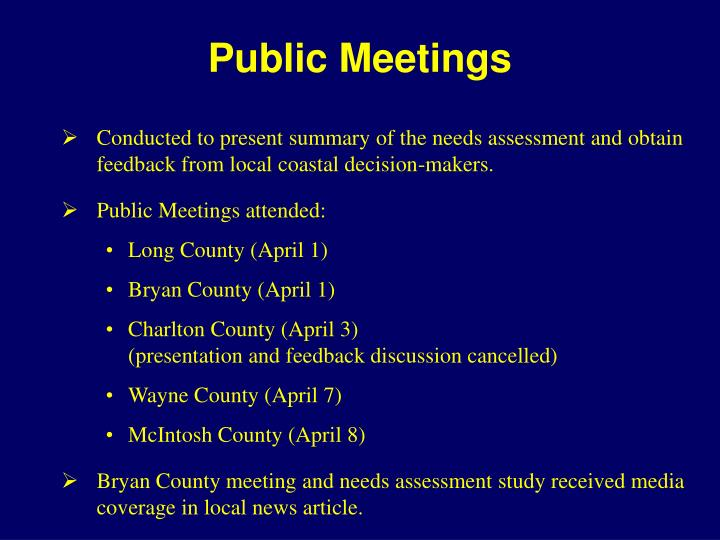 Public Meetings