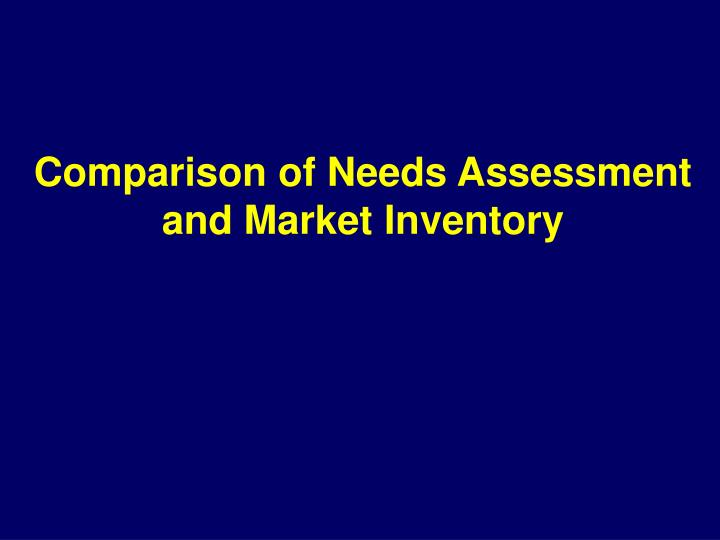 Comparison of Needs Assessment and Market Inventory