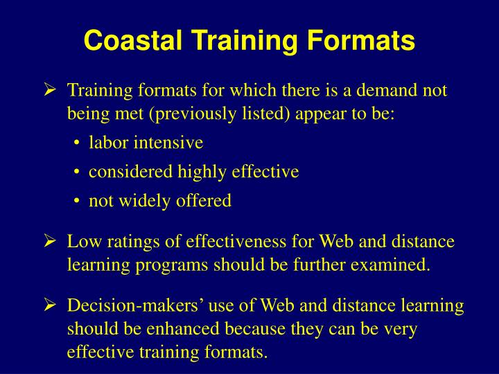 Coastal Training Formats