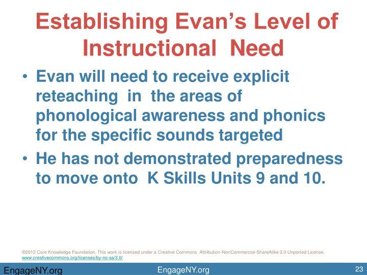 Establishing Evan's Level of Instructional  Need