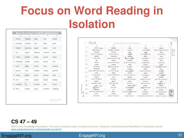 Focus on Word Reading in Isolation