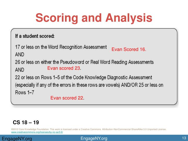 Scoring and Analysis