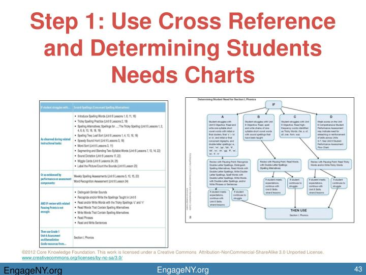 Step 1: Use Cross Reference and Determining Students Needs Charts