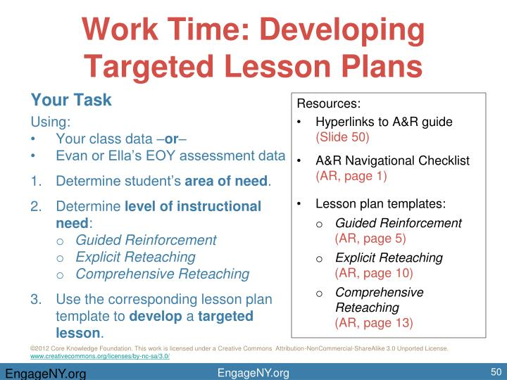 Work Time: Developing Targeted Lesson Plans