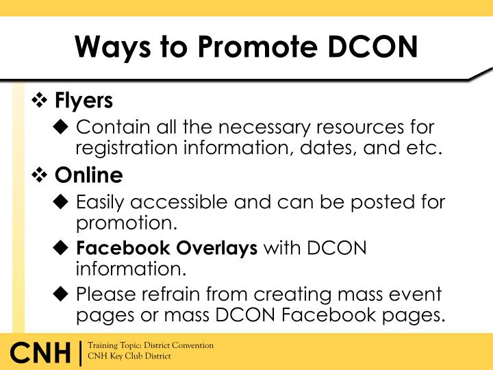 Ways to Promote DCON