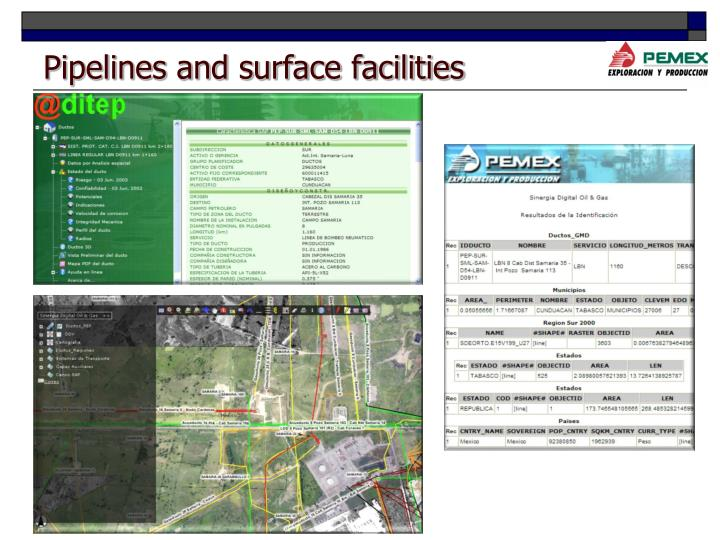 Pipelines and surface facilities