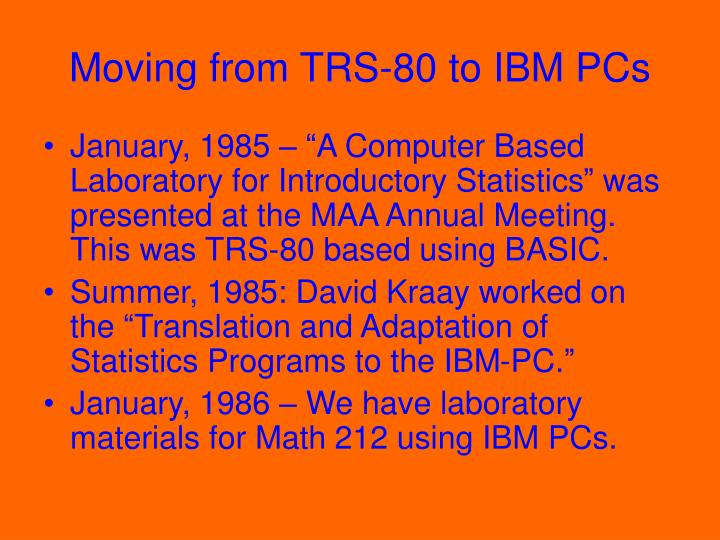 Moving from TRS-80 to IBM PCs