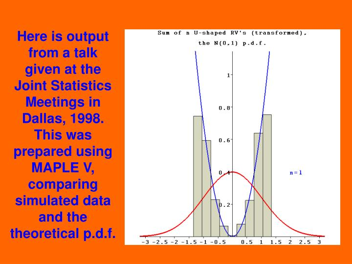 Here is output from a talk given at the Joint Statistics Meetings in Dallas, 1998. This was prepared using MAPLE V, comparing simulated data and the theoretical p.d.f.