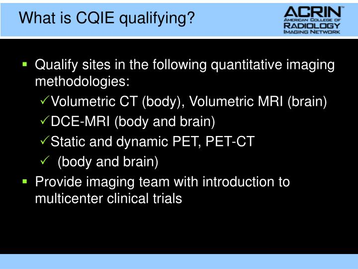 What is CQIE qualifying?