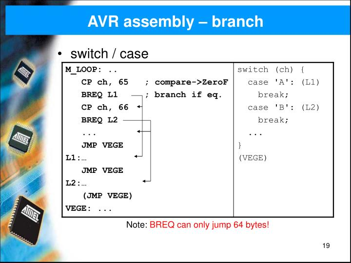 AVR assembly – branch