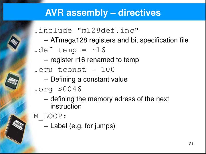 AVR assembly – directives