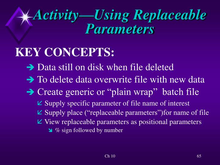 Activity—Using Replaceable Parameters