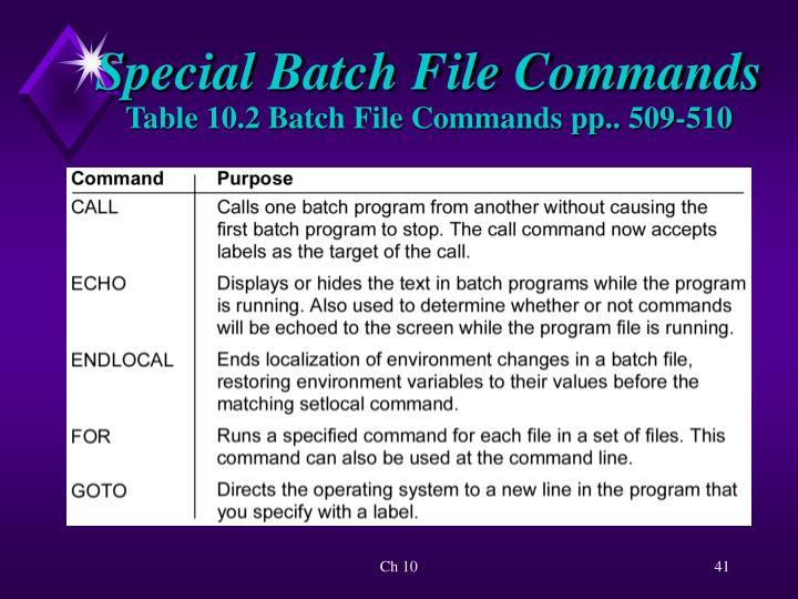 Special Batch File Commands